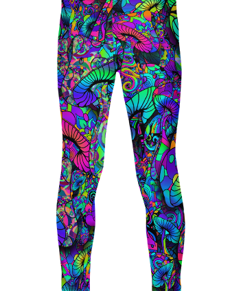 colorful artistic mushroom collage kid's leggings