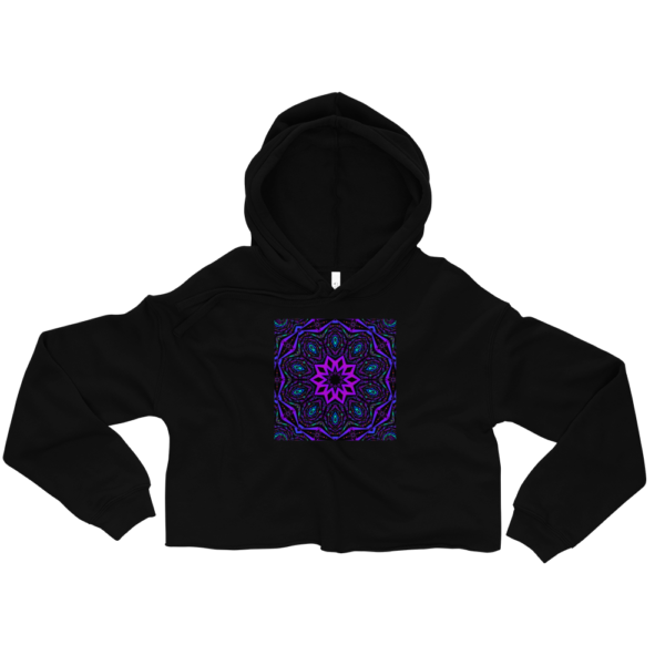 purple artistic kaleidoscope design on a black crop top sweatshirt