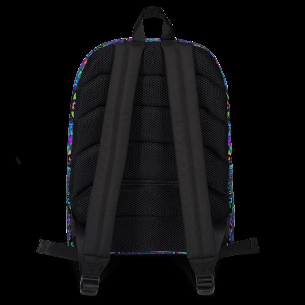 colorful artistic design backpack backside straps