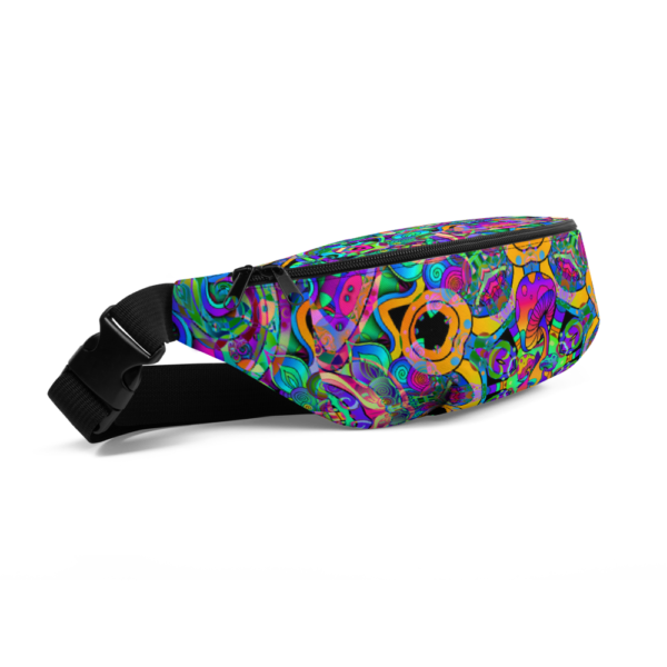 colorful psychedelic mushroom art fanny pack
