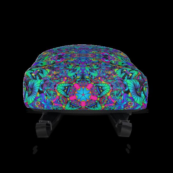 colorful artistic mushroom kaleidoscope backpack bottom