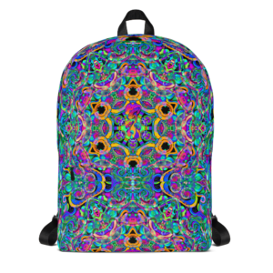 psychedelic pastel colorful artist design backpack with mushroom focal point