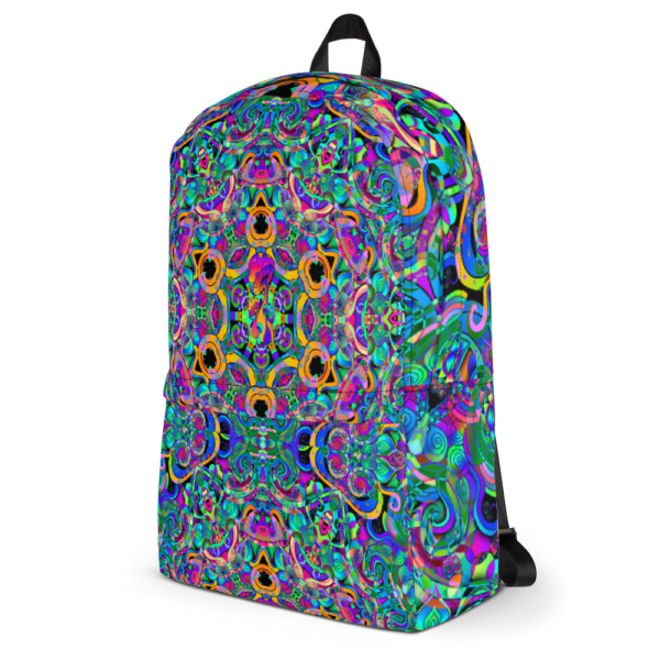 psychedelic pastel colorful artist design backpack