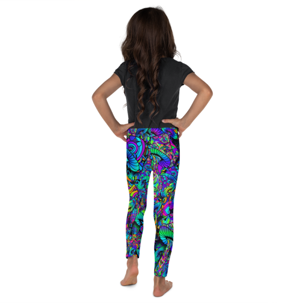 little girl wearing colorful artistic mushroom collage kid's leggings