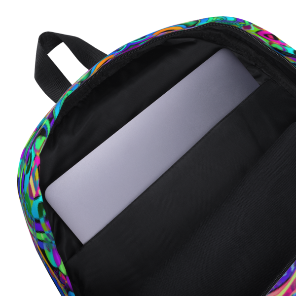 psychedelic pastel colorful artist design backpack showing inside pocket for labtop