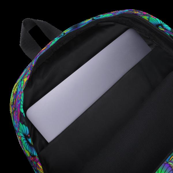 colorful artistic mushroom kaleidoscope backpack showing inside pocket for labtop