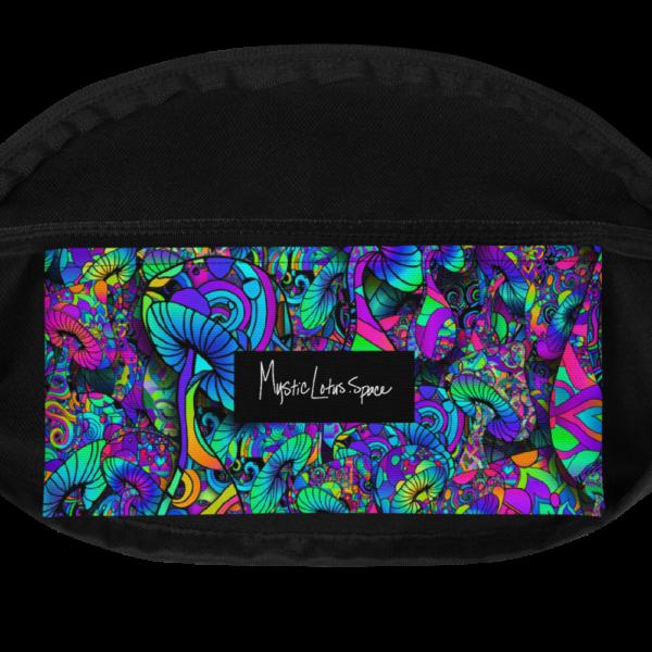 colorful artistic mushroom collage fanny pack inside pocket