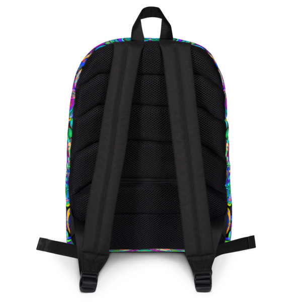 psychedelic pastel colorful artist design backpack backside with straps