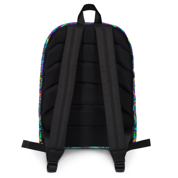 colorful artistic mushroom kaleidoscope backpack backside with straps