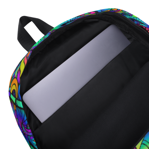 colorful artist mushroom collage backpack showing inside pocket for labtop