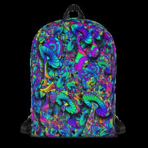 colorful artist mushroom collage backpack
