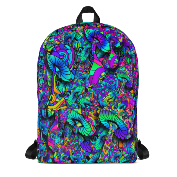 colorful artist mushroom collage backpack