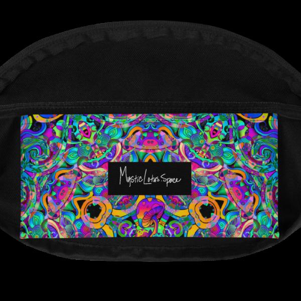 colorful psychedelic mushroom art fanny pack inside pocket