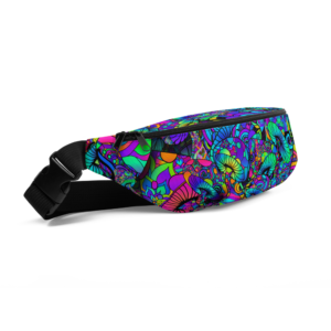 colorful artistic mushroom collage fanny pack