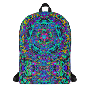 colorful artistic mushroom kaleidoscope backpack