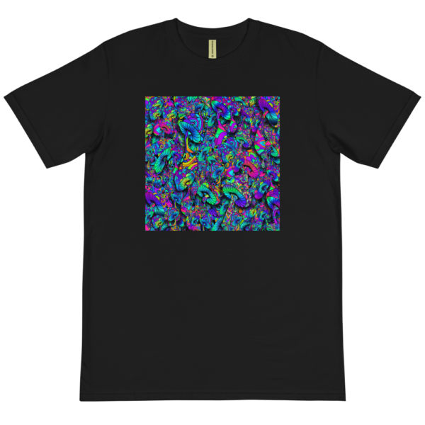 black organic t-shirt with a collage of artistic mushrooms