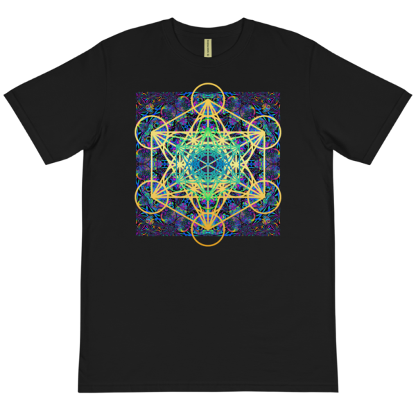 black organic t-shirt with colorful artistic metaron's cube sacred geometry