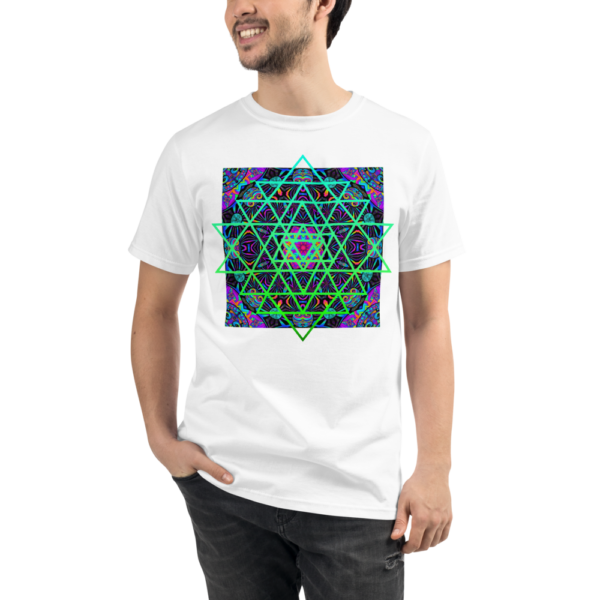man wearing an organic white t-shirt with an artistic green neon sri yantra sacred geometry symbol