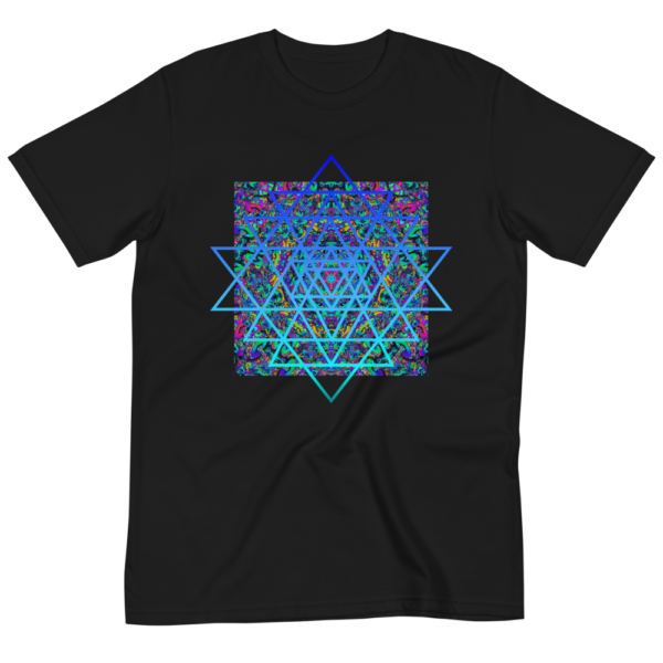 wrinkled black organic t-shirt with an artistic blue sri yantra sacred geometry symbol