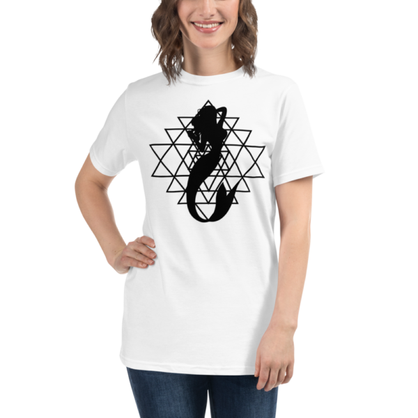 woman wearing a white organic t-shirt with a silhouette of a mermaid and a sri yantra sacred geometry