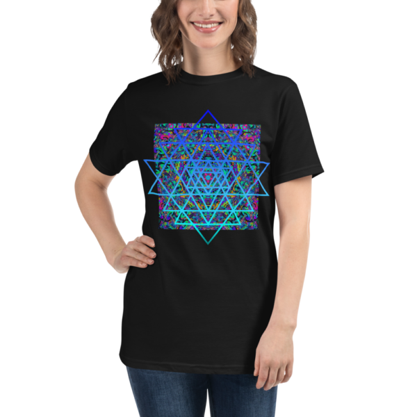 woman wearing a black organic t-shirt with an artistic blue sri yantra sacred geometry symbol