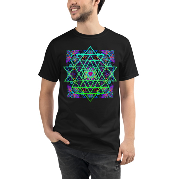 man wearing an organic black t-shirt with an artistic green neon sri yantra sacred geometry symbol