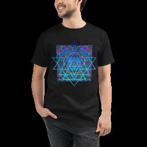 man wearing black organic t-shirt with an artistic blue sri yantra sacred geometry symbol