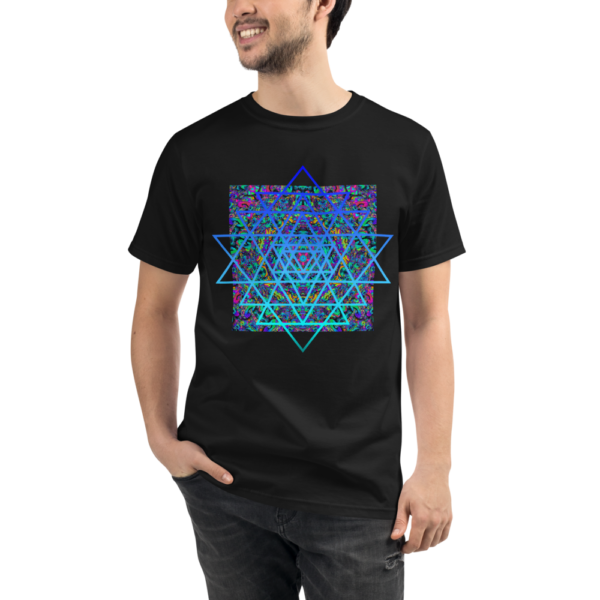 man wearing black organic t-shirt with an artistic blue sri yantra sacred geometry symbol