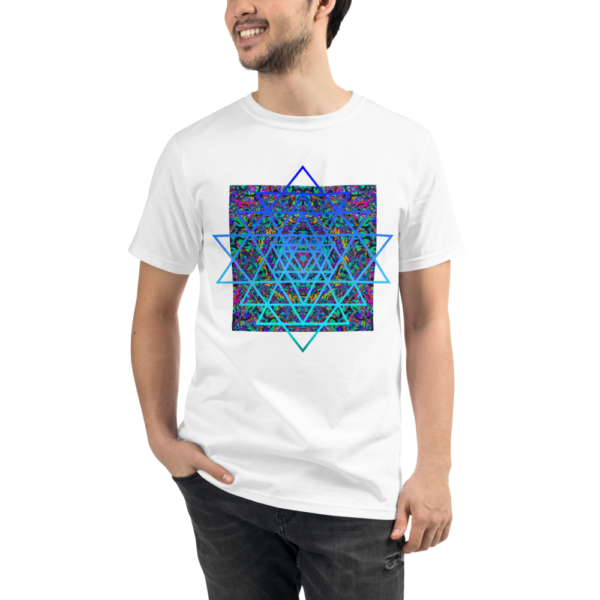 man wearing a white organic t-shirt with an artistic blue sri yantra sacred geometry symbol