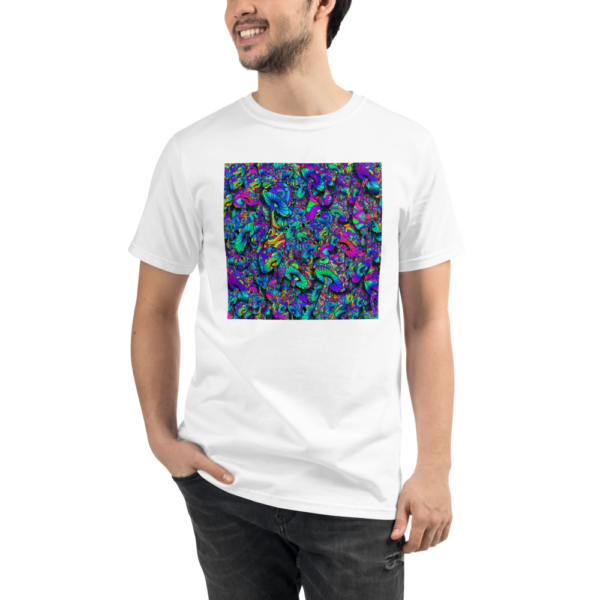 man wearing a white organic t-shirt with a collage of artistic mushrooms