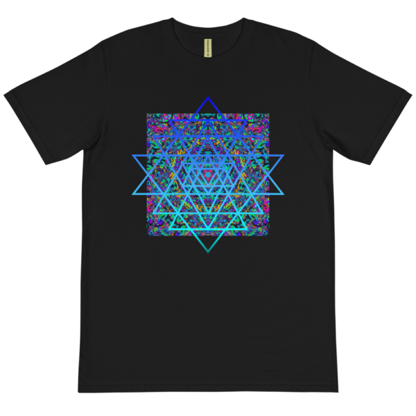 black organic t-shirt with an artistic blue sri yantra sacred geometry symbol
