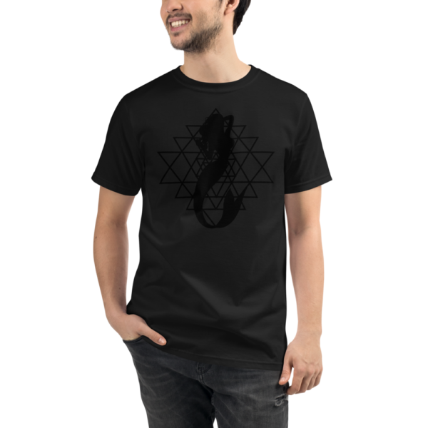 man wearing a black organic t-shirt with a silhouette of a mermaid and a sri yantra sacred geometry