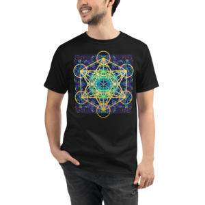 man wearing a black organic t-shirt with colorful artistic metaron's cube sacred geometry