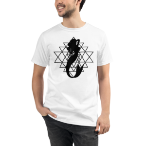 man wearing a white organic t-shirt with a silhouette of a mermaid and a sri yantra sacred geometry