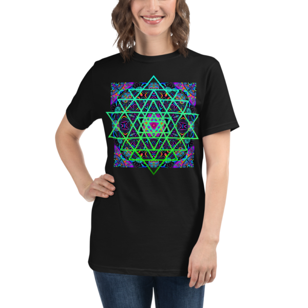 women wearing organic black t-shirt with an artistic green neon sri yantra sacred geometry symbol