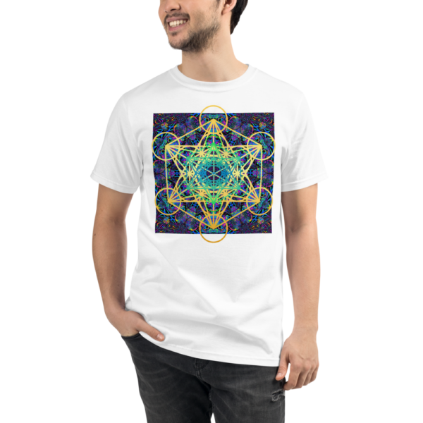man wearing a white organic t-shirt with colorful artistic metaron's cube sacred geometry