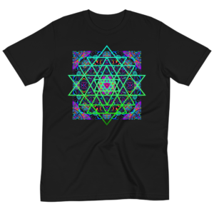 organic black t-shirt with an artistic green neon sri yantra sacred geometry symbol