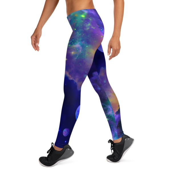 woman wearing leggings with outer space nebulae and planets