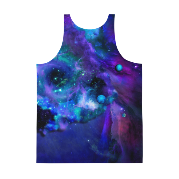 mens psychedelic tank top with purple blue nebulae and small planets backside
