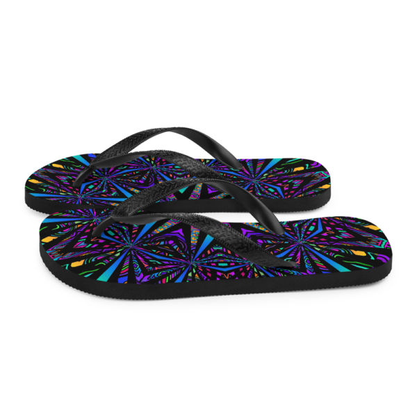 brightly colored artwork flip flops side view