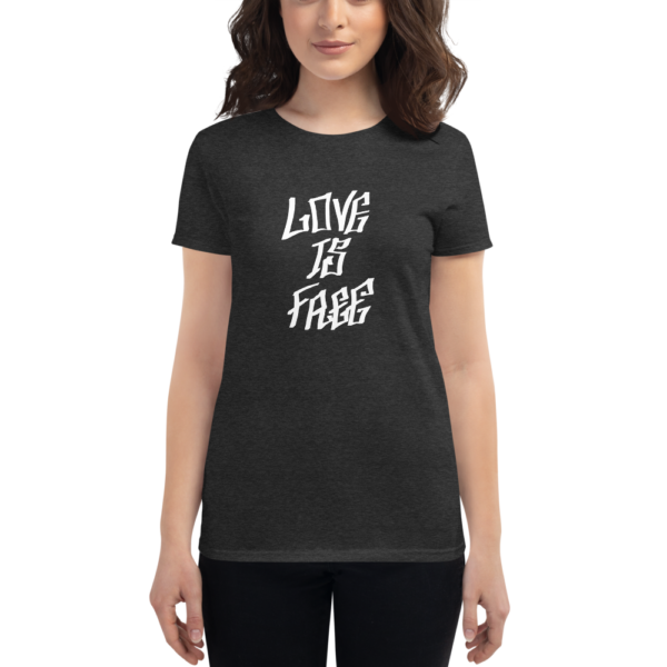 women wearing heather grey t-shirt that says love is free in graffiti letters