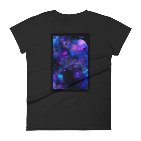 black t-shirt women's with nebulae artwork box on the front