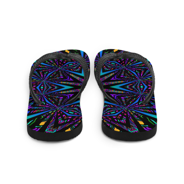 brightly colored artwork flip flops back view