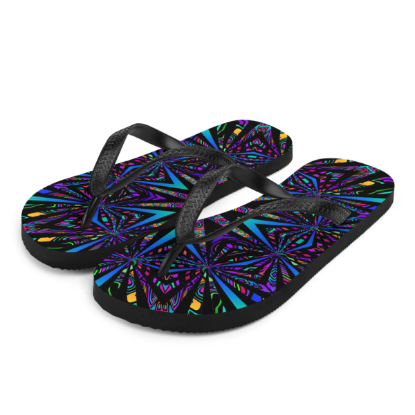 brightly colored artwork flip flops