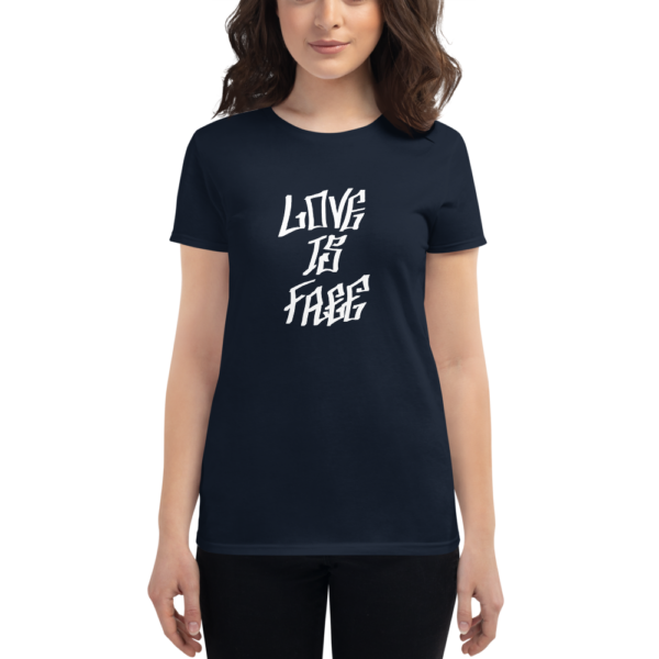 women wearing navy t-shirt that says love is free in graffiti letters