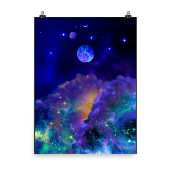 poster with outer space nebulae with planets and stars