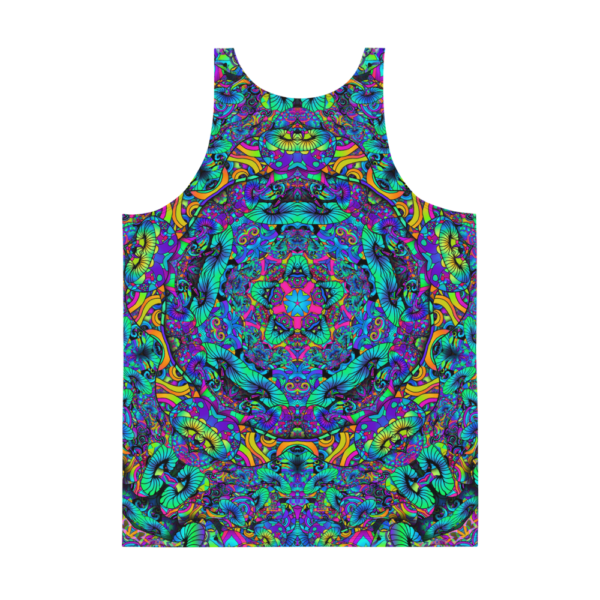 mens psychedelic tank top with bright colored mushroom kaleidoscope backside