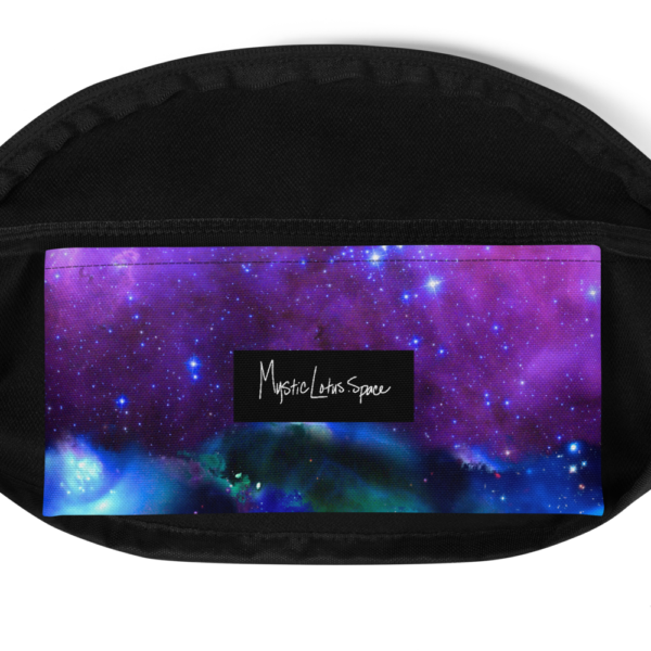 purple outer space nebula fanny pack inside pocket view