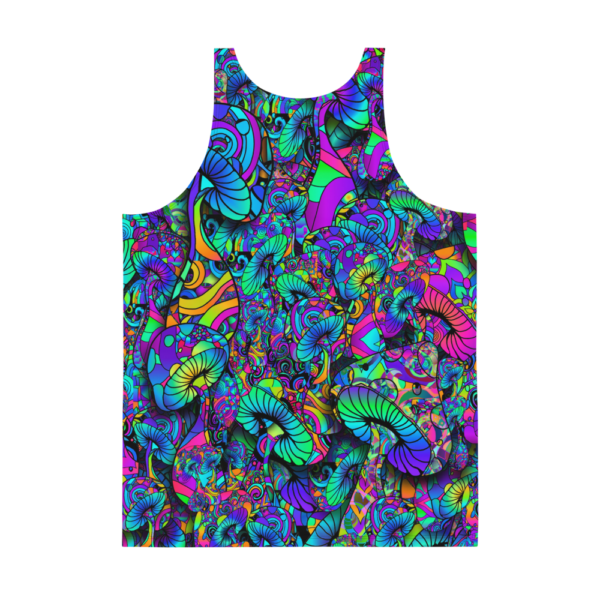 mens psychedelic tank top with bright colored mushroom collage backside