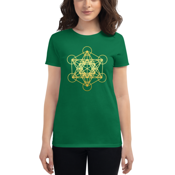 woman wearing dark green t-shirt with a gradient gold metatron's cube sacred geometry in the front center